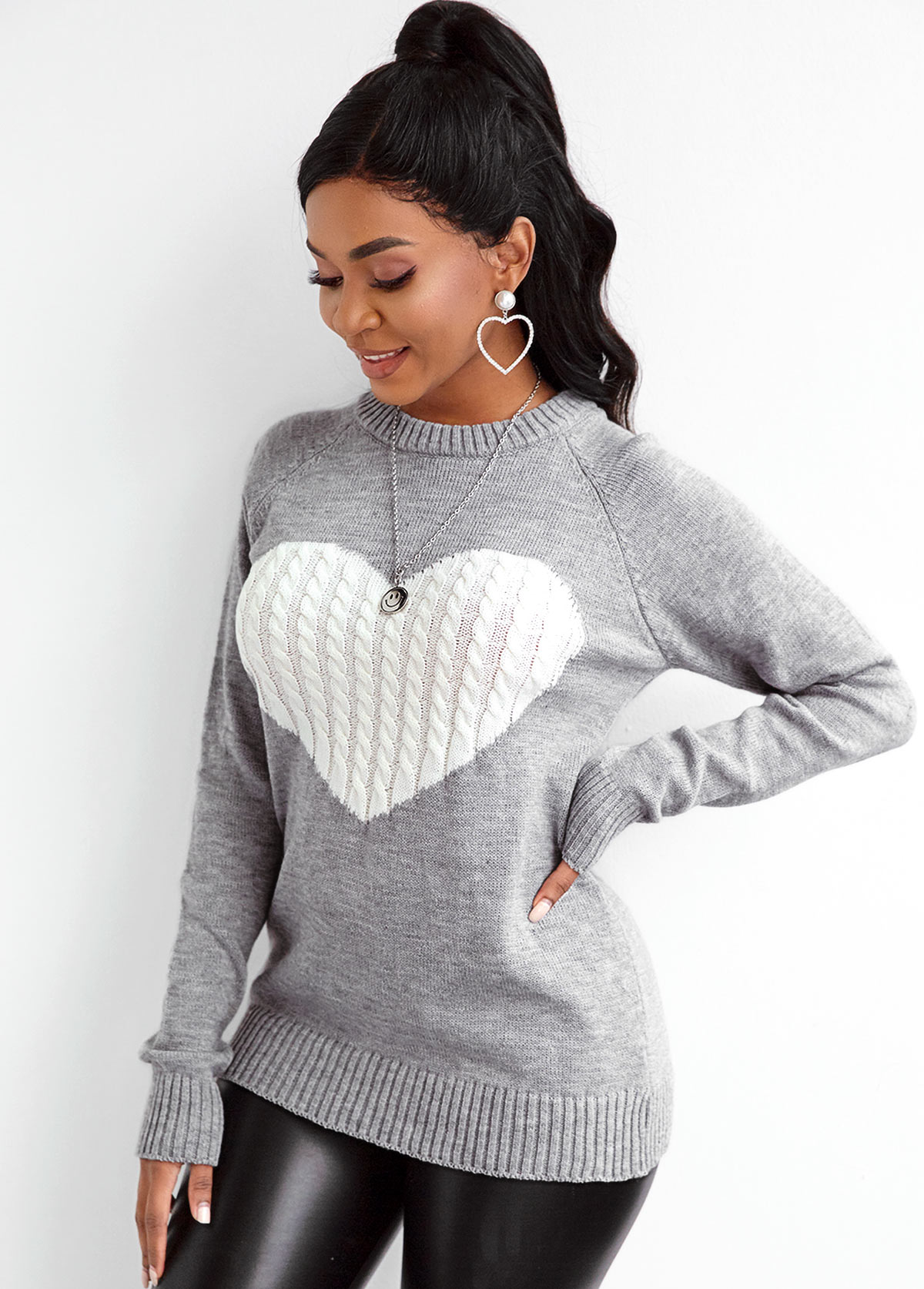 Long Sleeve Twisted Pattern Heart Sweater