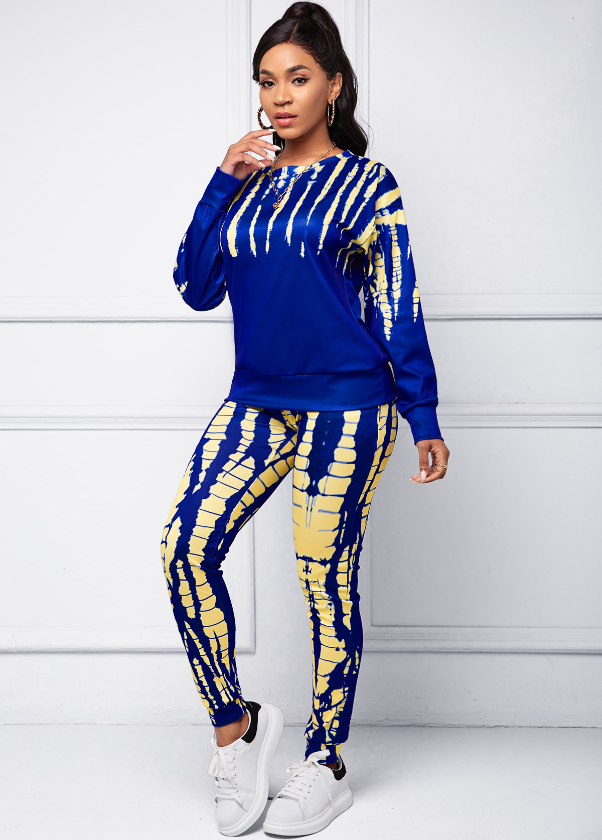 Tie Dye Print Round Neck Long Sleeve Top and Pants