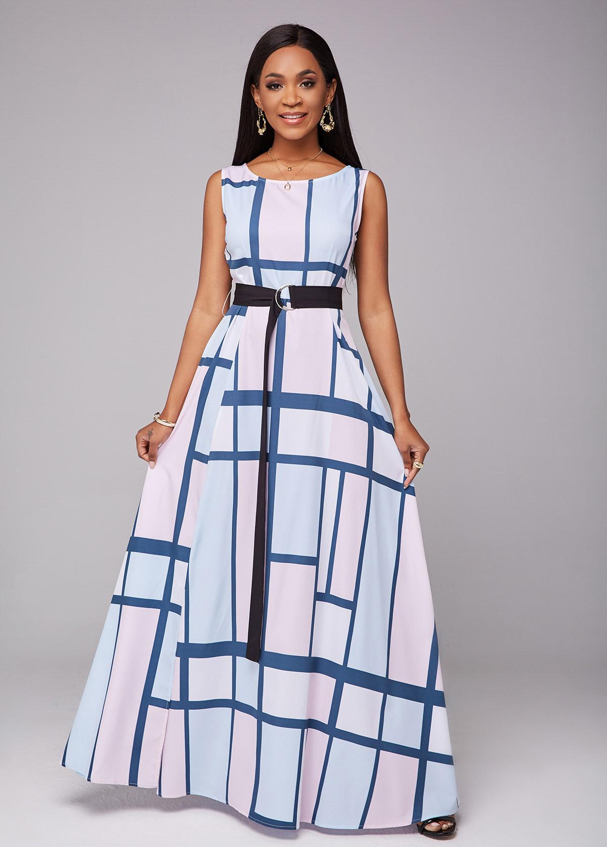 Side Slit Geometric Print Belted Dress