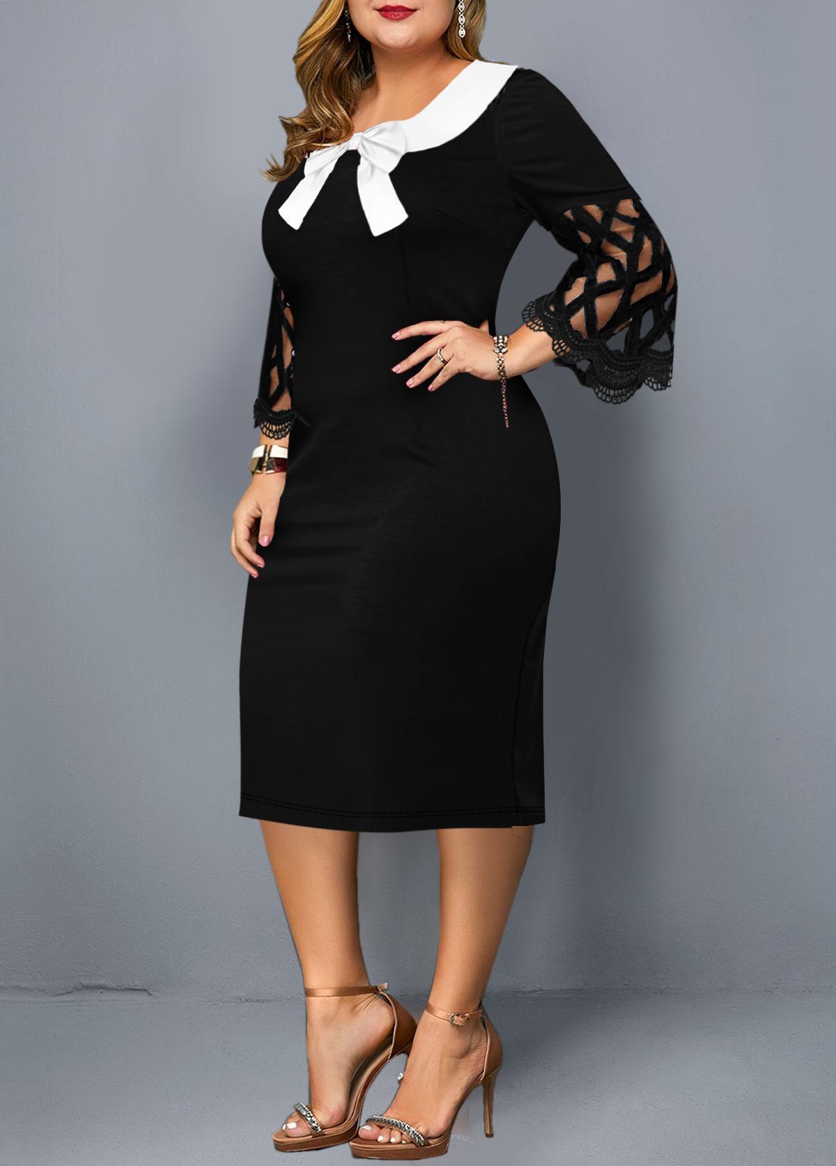 Bowknot Mesh Sleeve Plus Size Dress