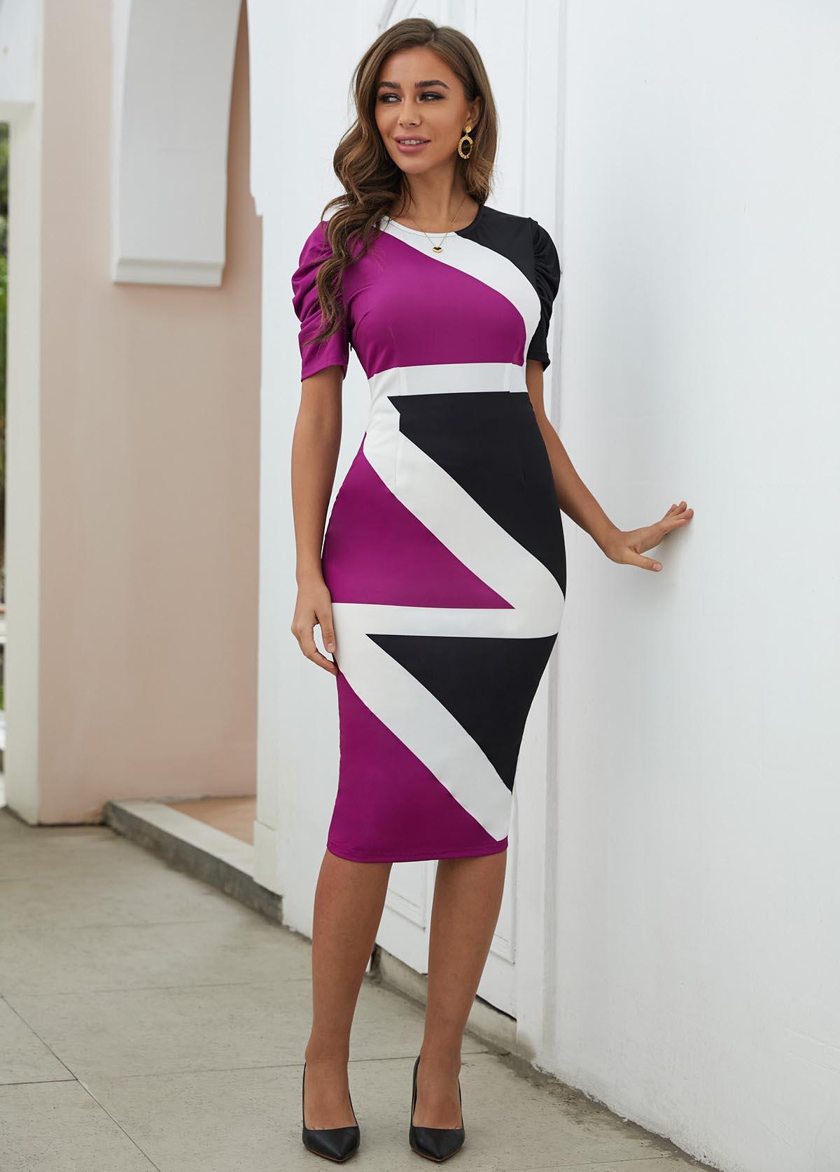 Short Sleeve Contrast Round Neck Bodycon Dress
