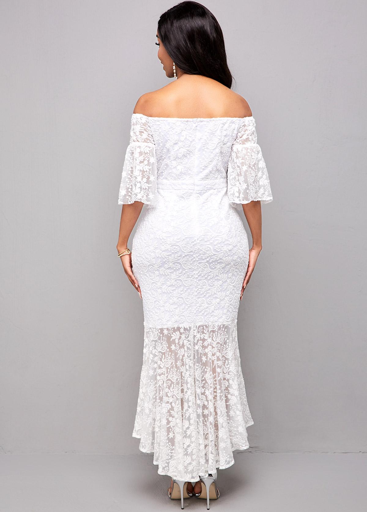 3/4 Sleeve Off Shoulder Lace Mermaid Dress