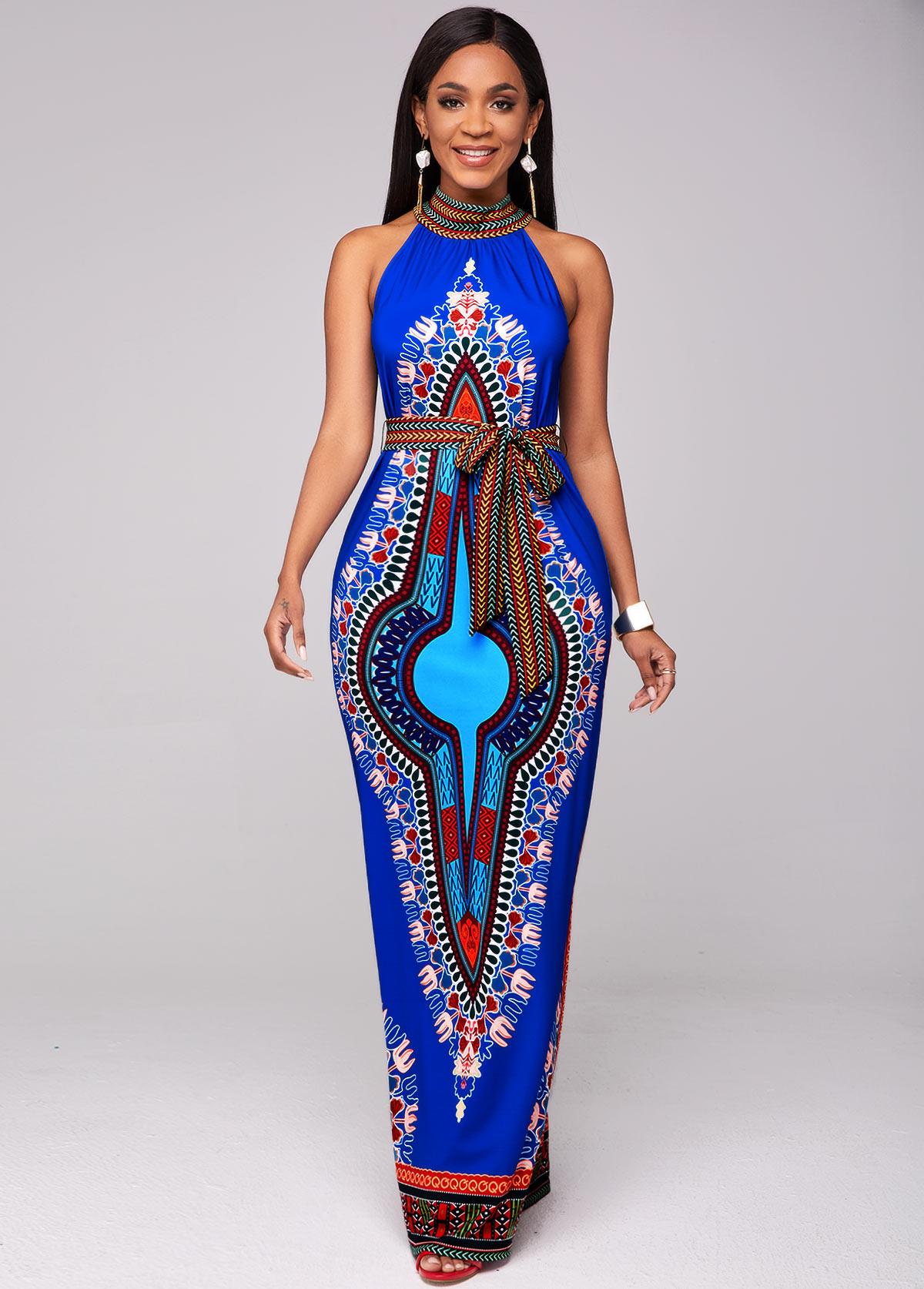 Belted Dashiki Print Bib Neck Maxi Dress