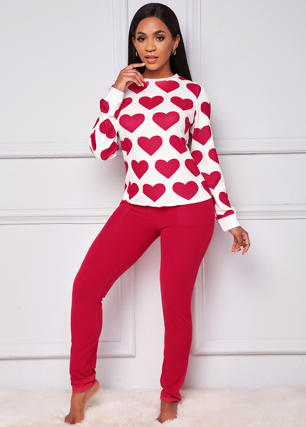 Heart Print Round Neck Loungewear Set