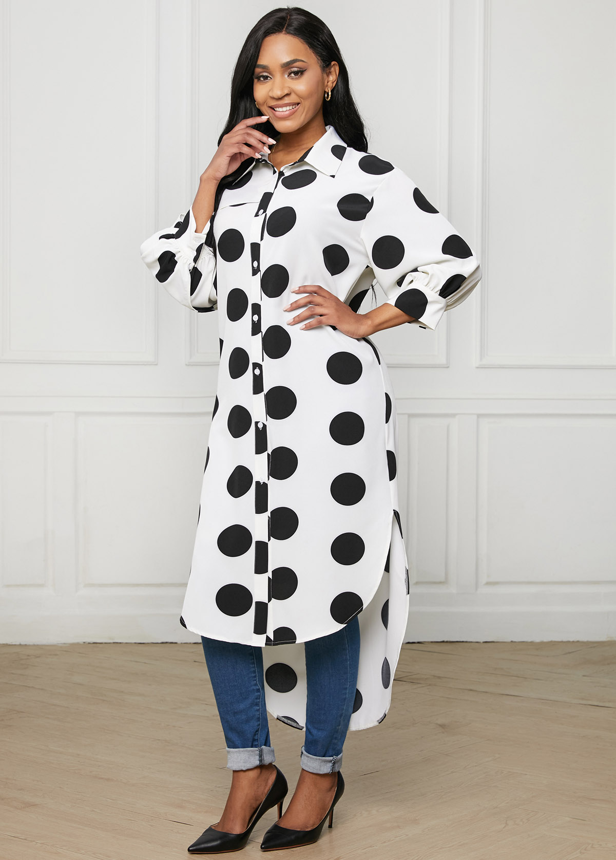 Lantern Sleeve Polka Dot Button Up Blouse