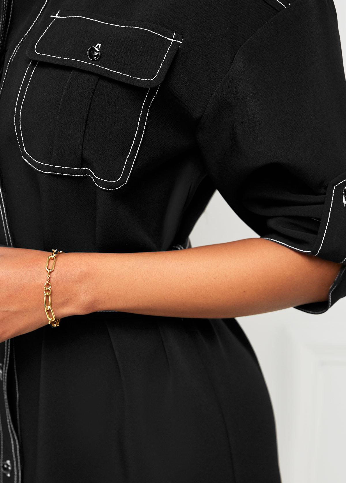 Contrast Stitch Pocket Turndown Collar Dress