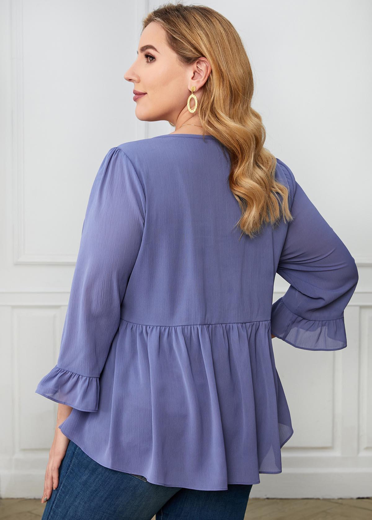 Flare Cuff Lace Stitching Plus Size T Shirt