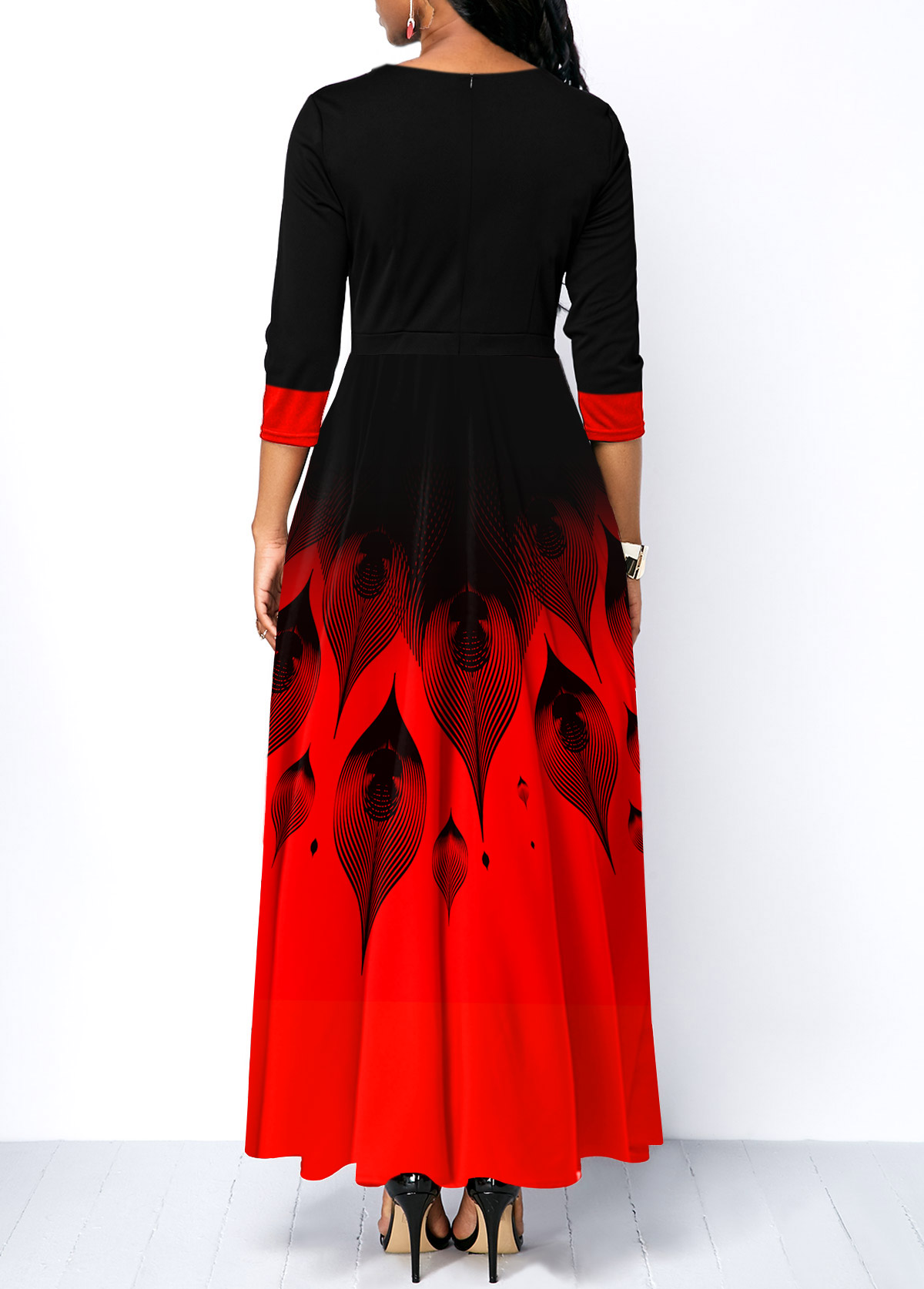 Printed Bow Collar Ombre Maxi Dress