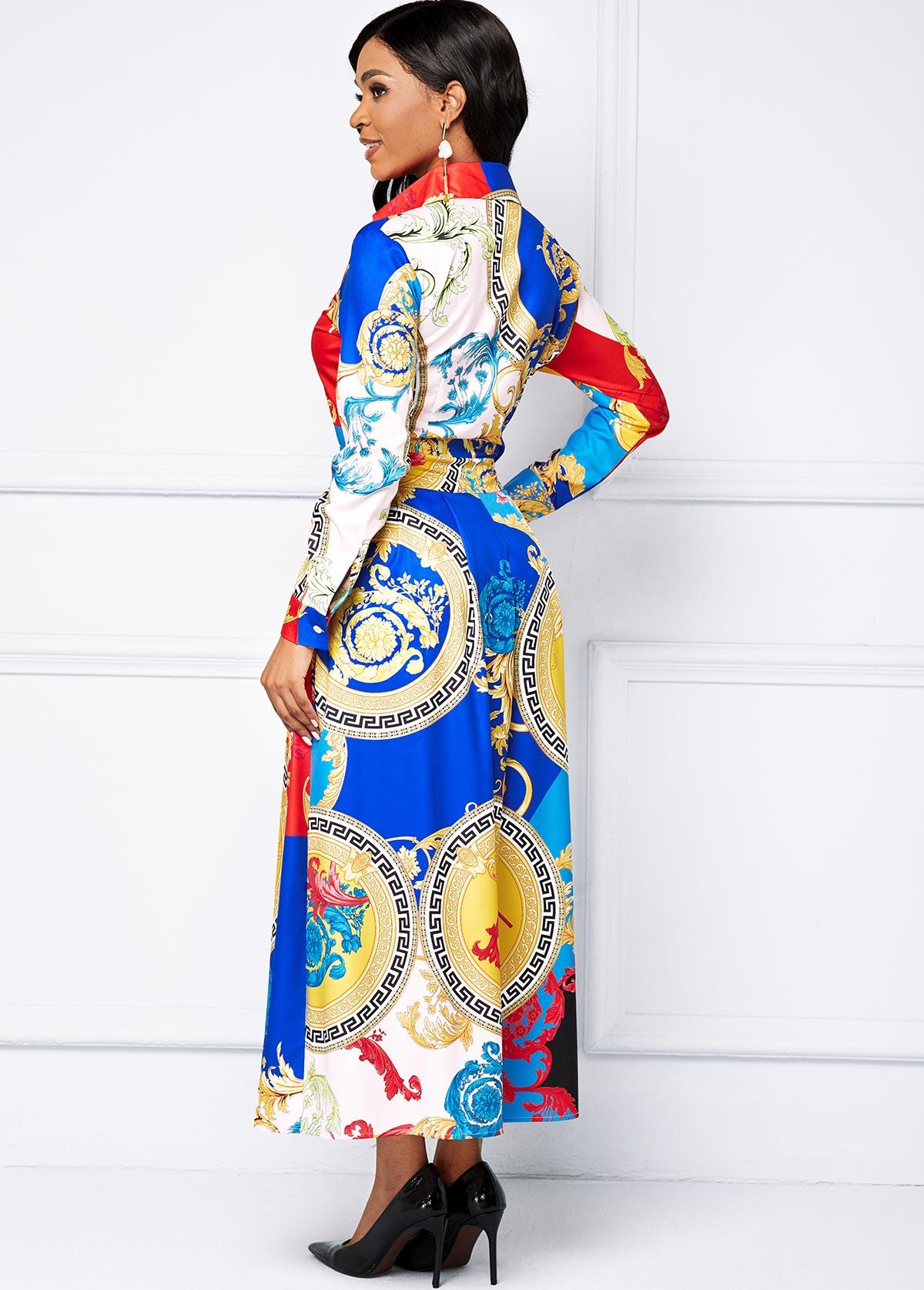 Printed Long Sleeve Button Maxi Dress