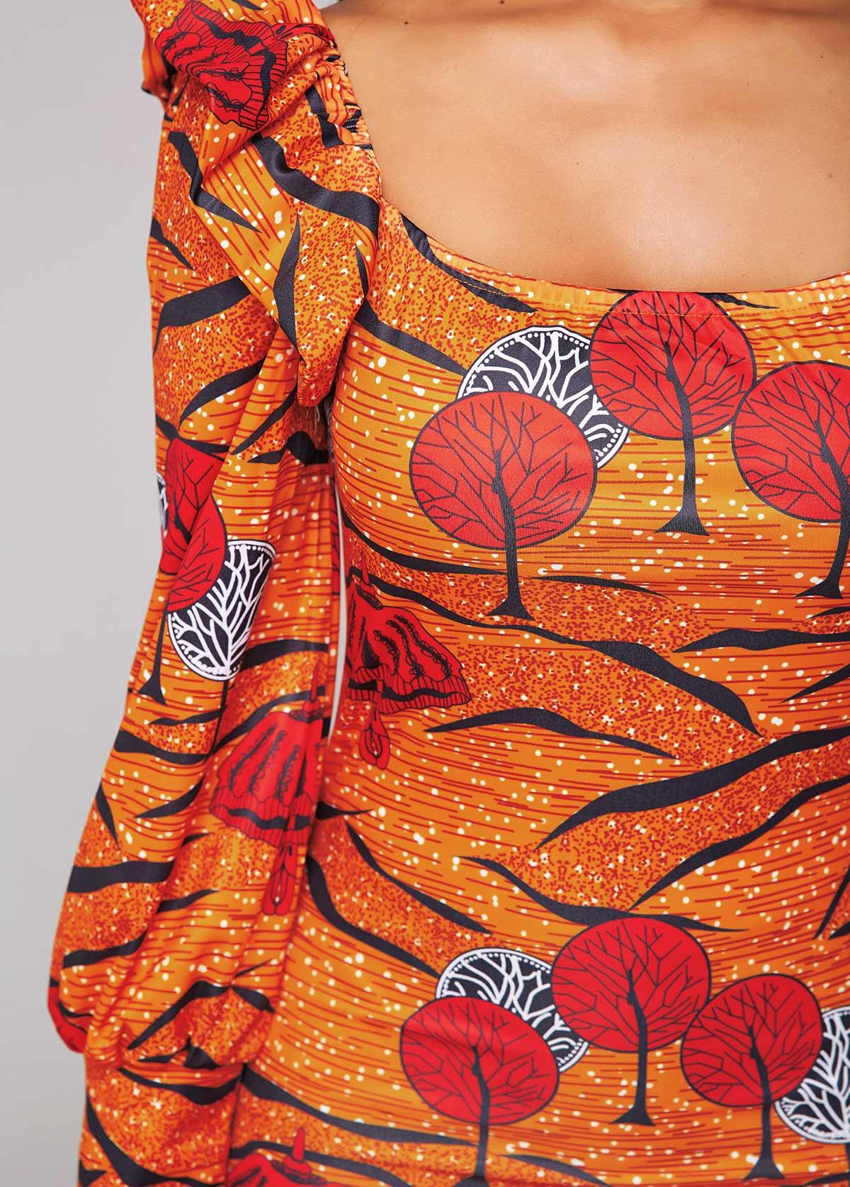 Flounce Printed Long Sleeve Sheath Dress
