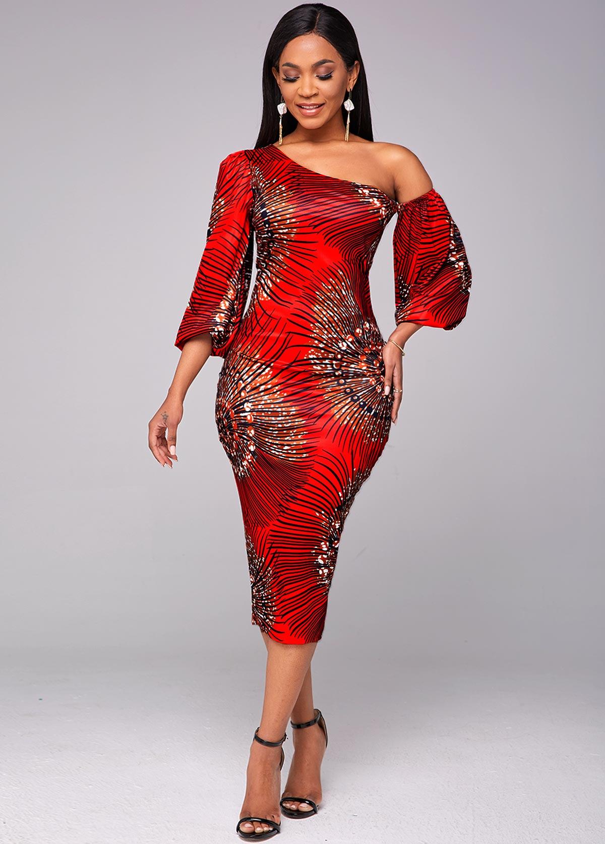 Printed Lantern Sleeve Skew Neck Bodycon Dress