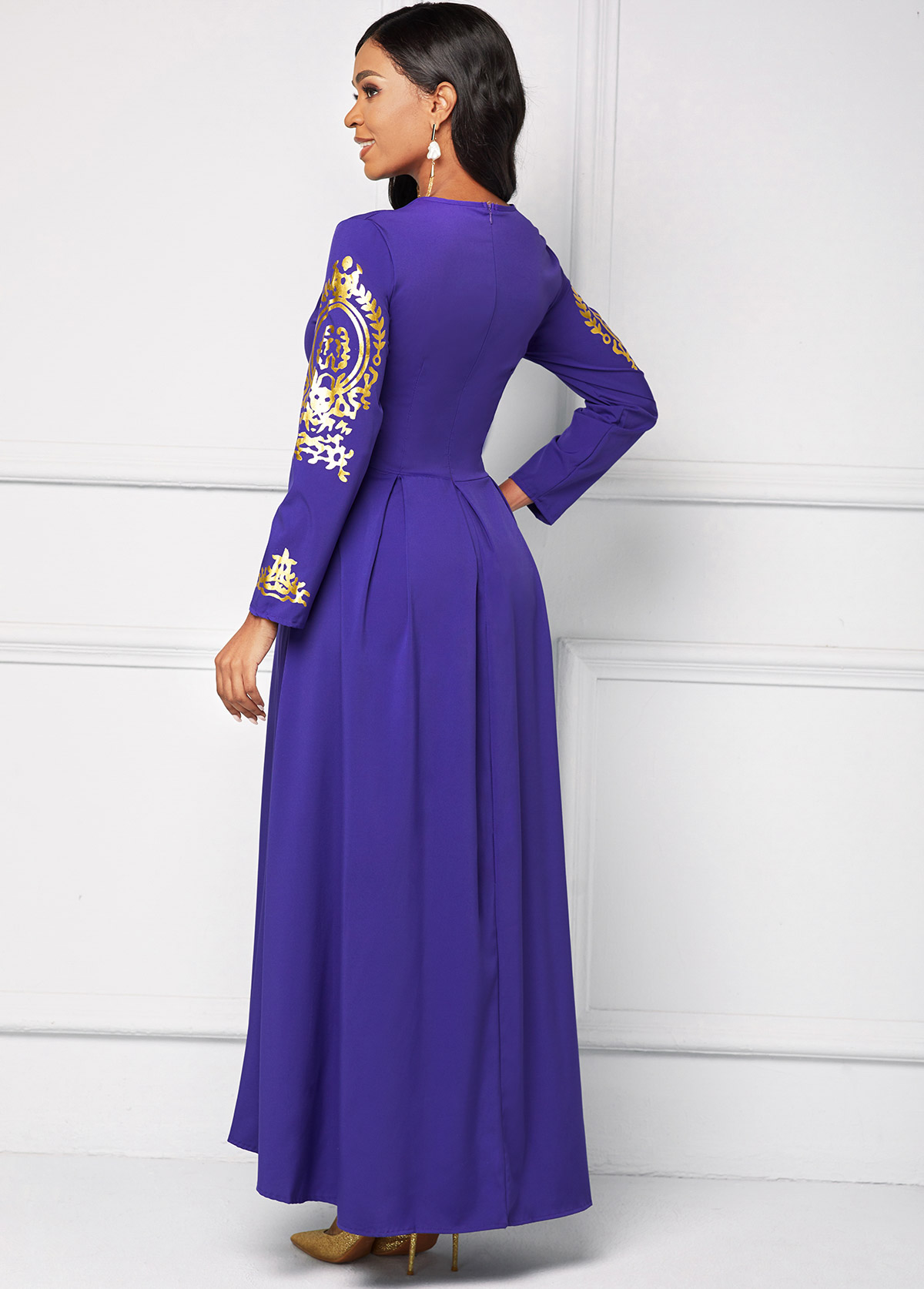 Long Sleeve Lace Stitching Maxi Dress