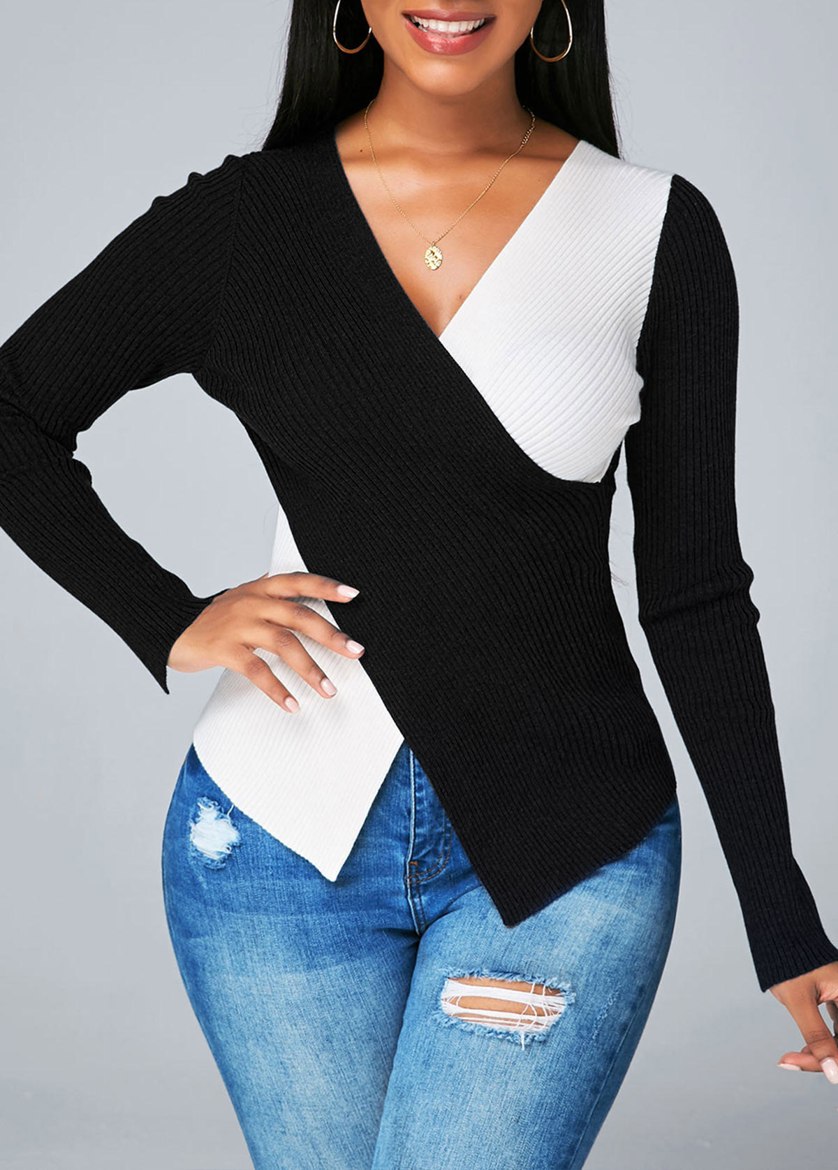 Asymmetric Hem Contrast V Neck Sweater