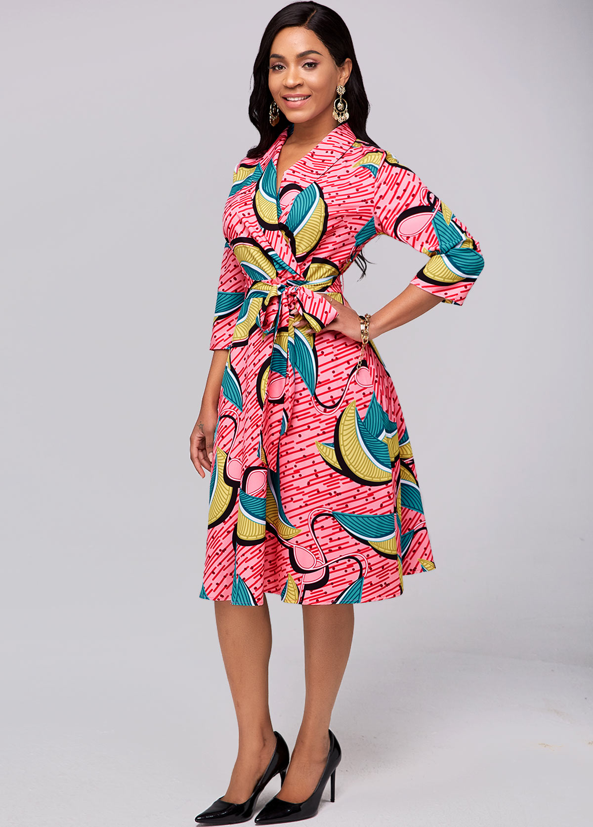 Belted Printed Red 3/4 Sleeve Dress