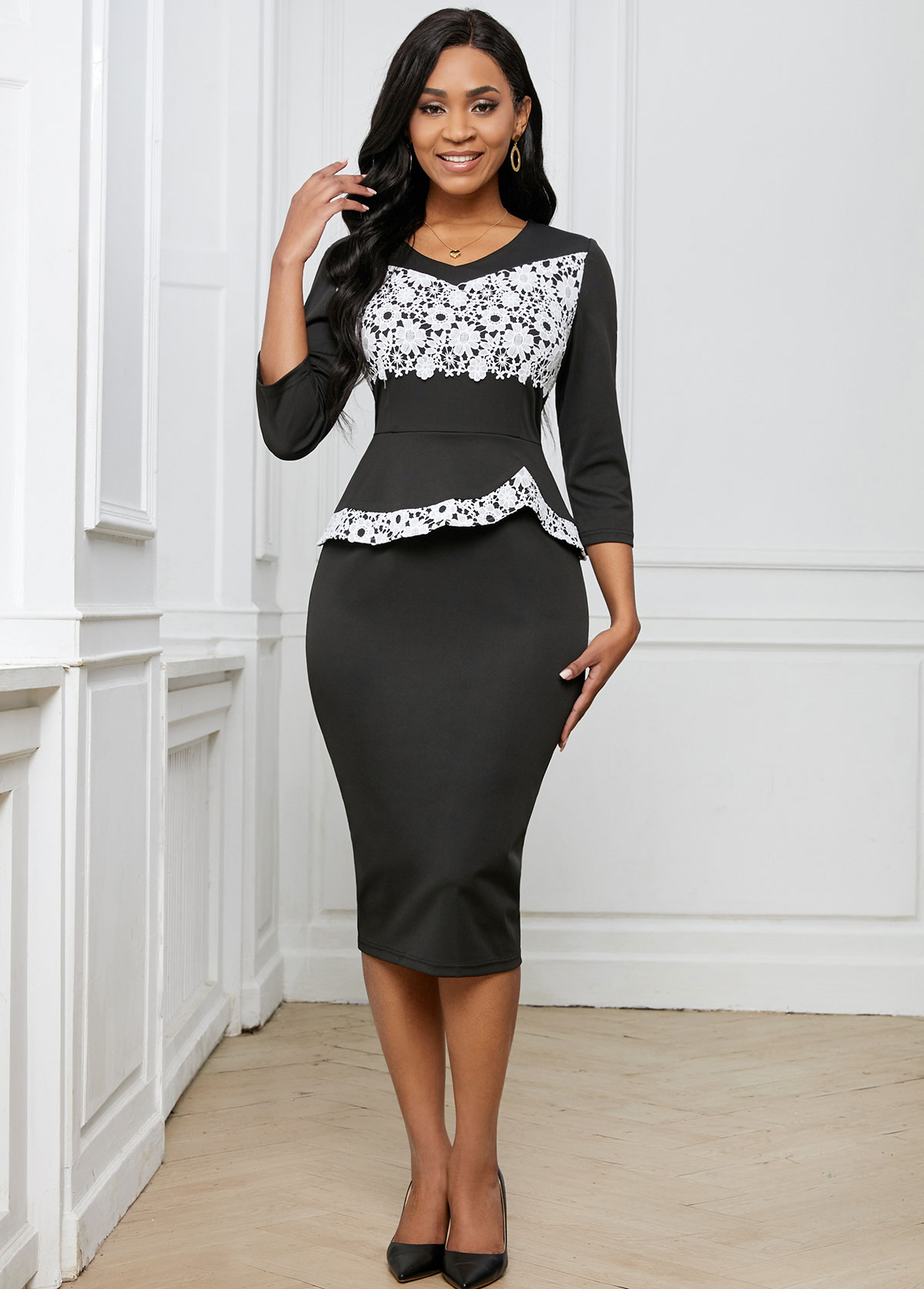 Lace Stitching 3/4 Sleeve Contrast Dress