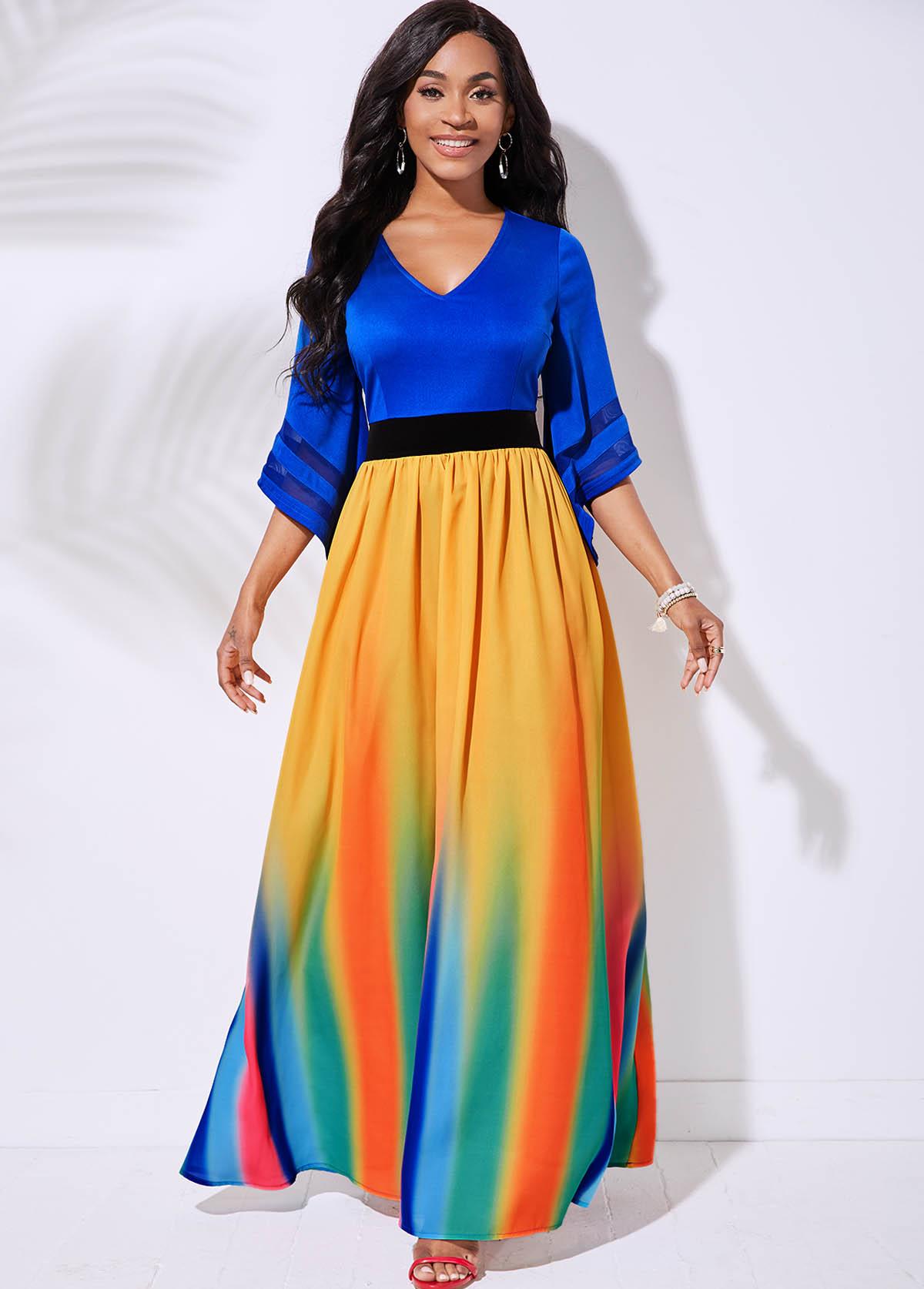 3/4 Sleeve Rainbow Stripe V Neck Dress