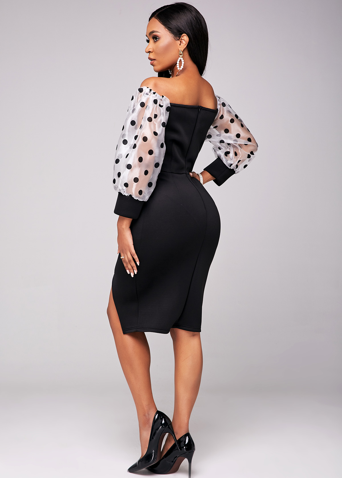 Polka Dot Beaded Puff Sleeve Dress