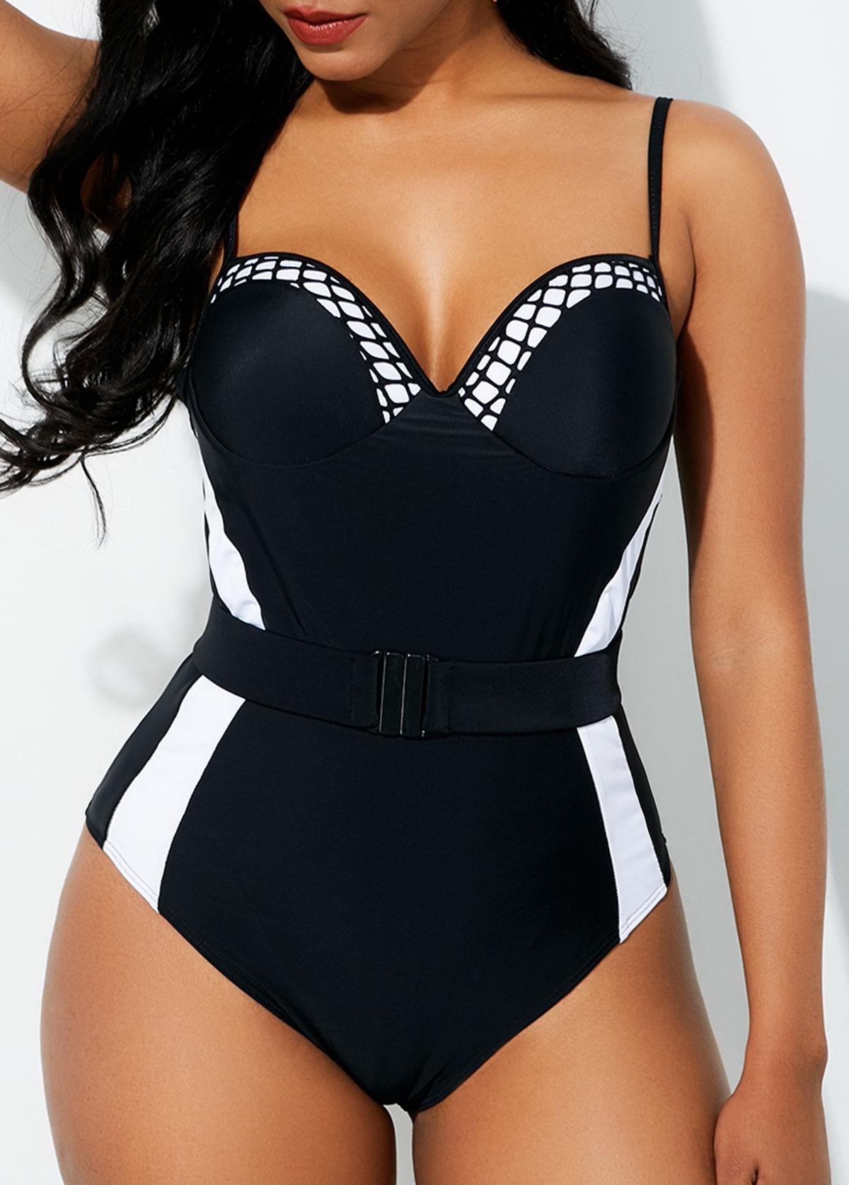 Belted Contrast Spaghetti Strap One Piece Swimwear
