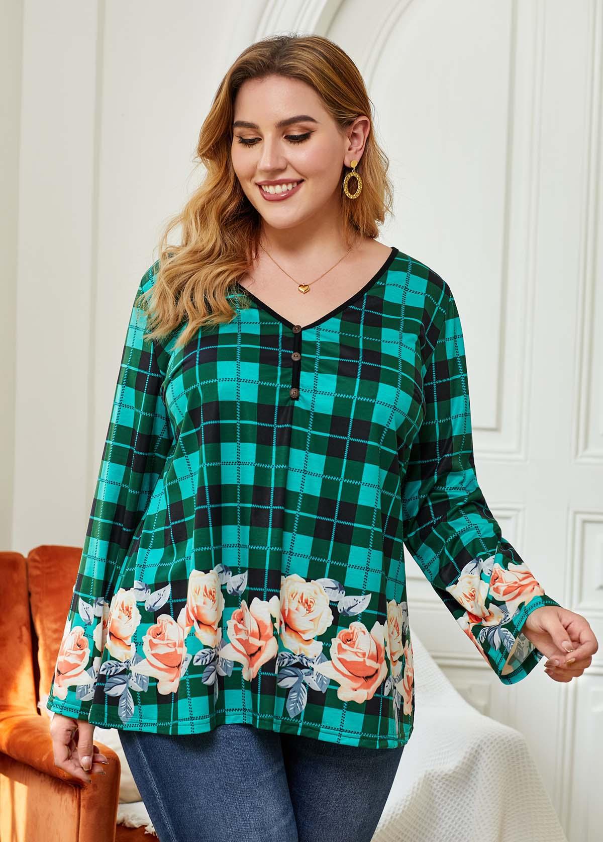 Plaid Plus Size Floral Print Blouse