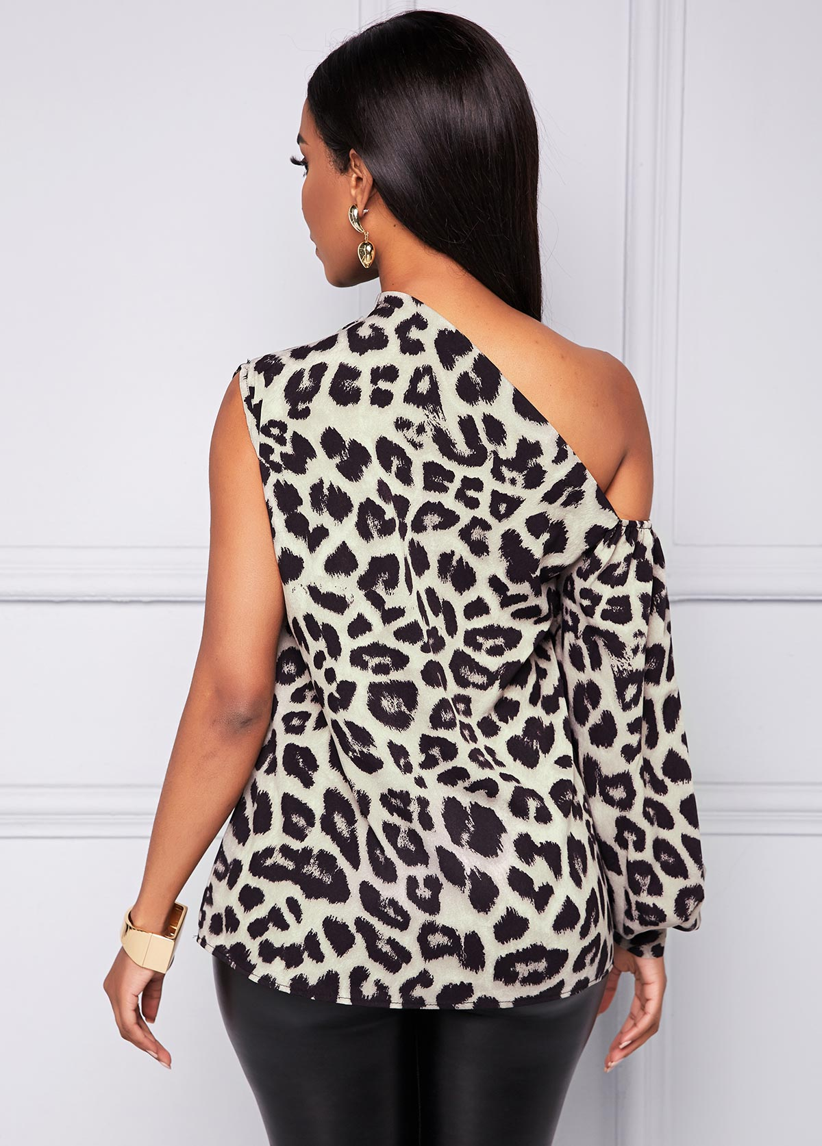 Leopard One Shoulder Long Sleeve T Shirt