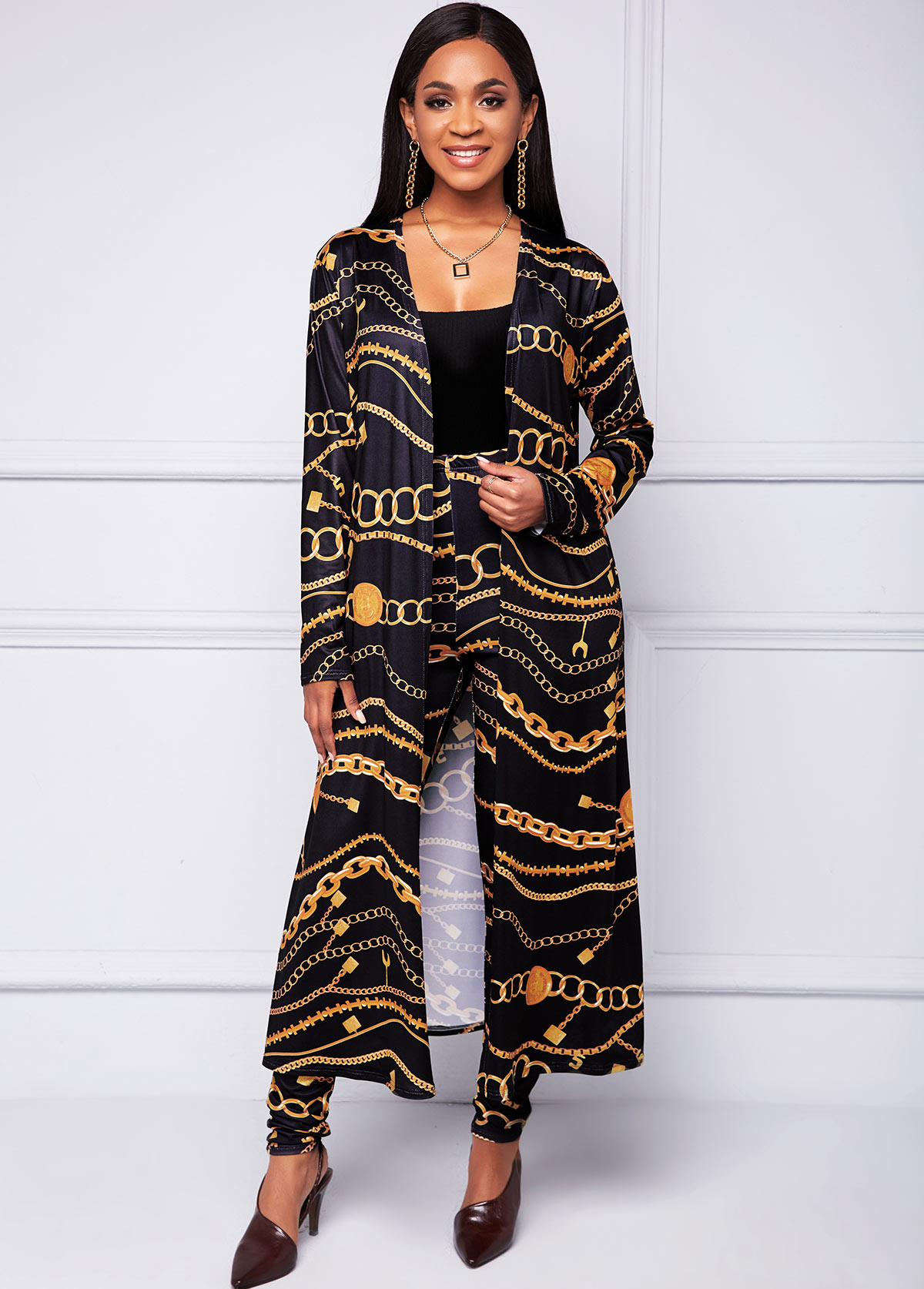 Open Front Coat and Gold Chain Print Pants