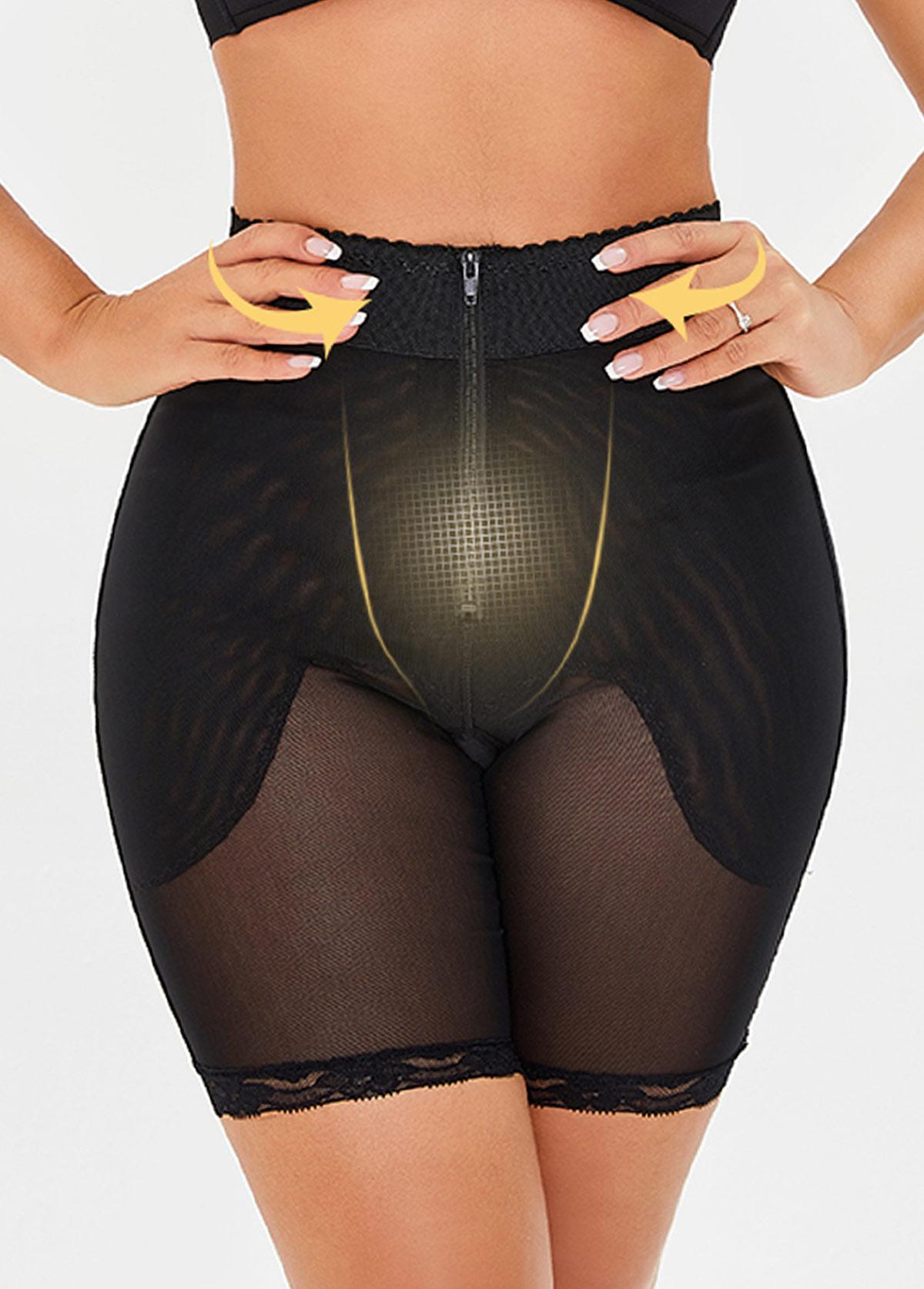 High Waist Black Semi Sheer Panties