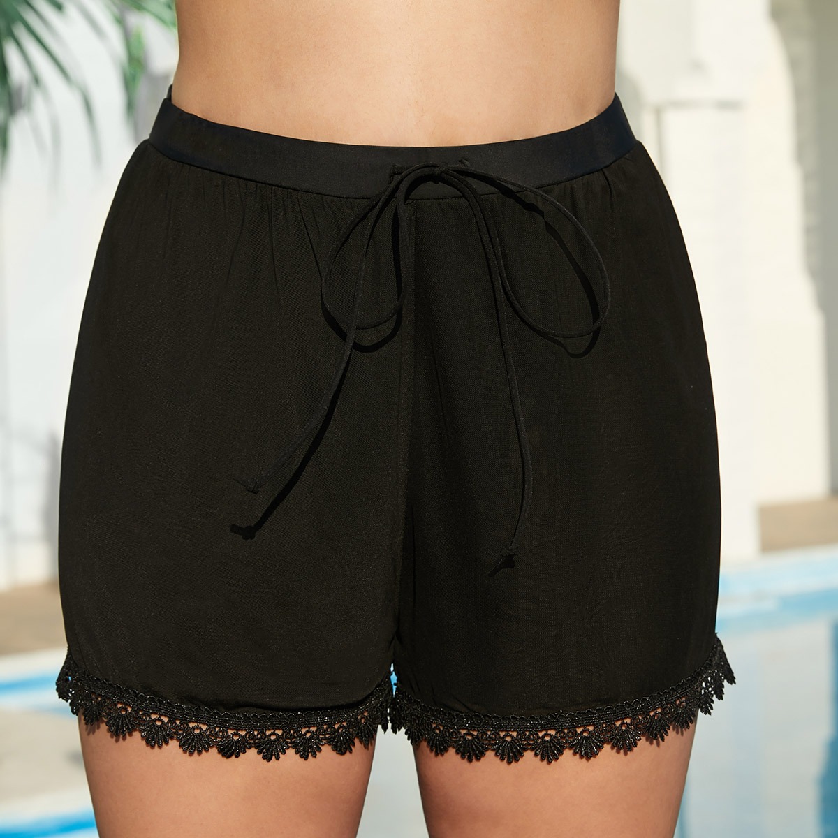 Black Lace Stitching Drawstring Waist Swimwear Shorts