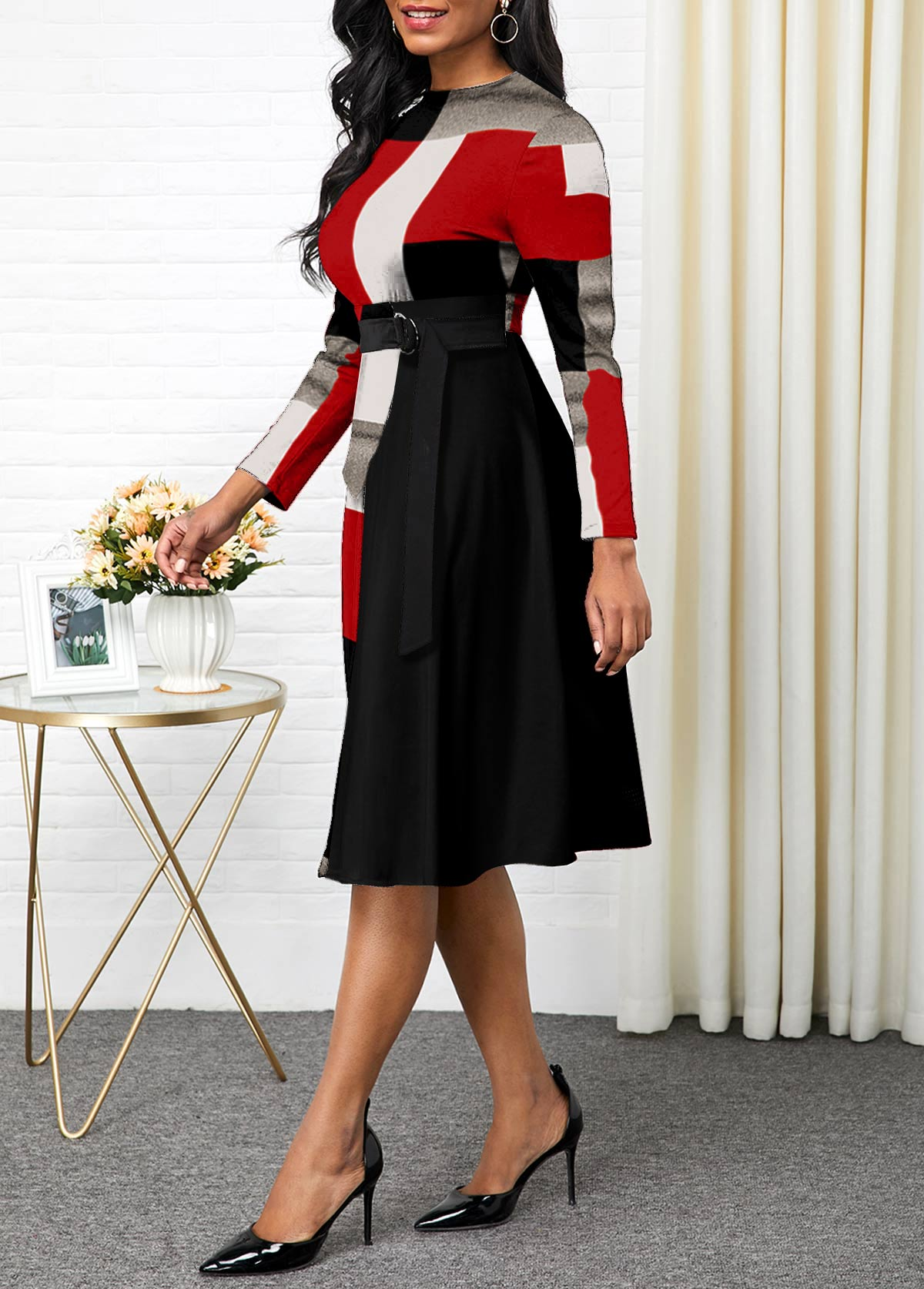 Long Sleeve Plaid Buckle Detail Dress