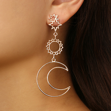 Asymmetric Star Moon Sun Design Hollowed Earring Set