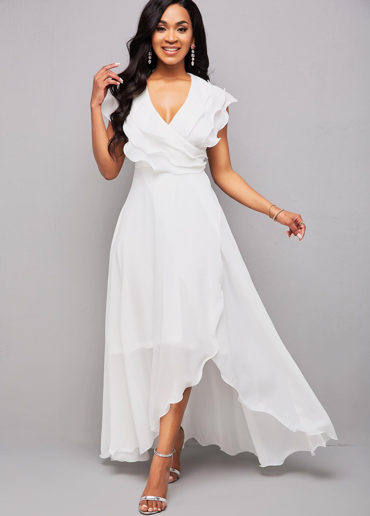 Flounce Asymmetric Hem V Neck Maxi Dress