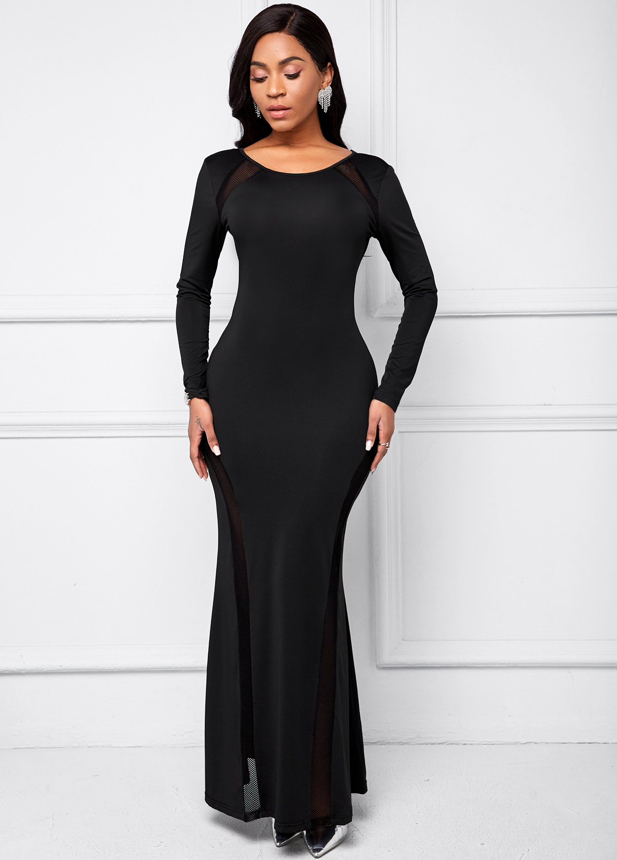 Mesh Stitching Black Long Sleeve Dress