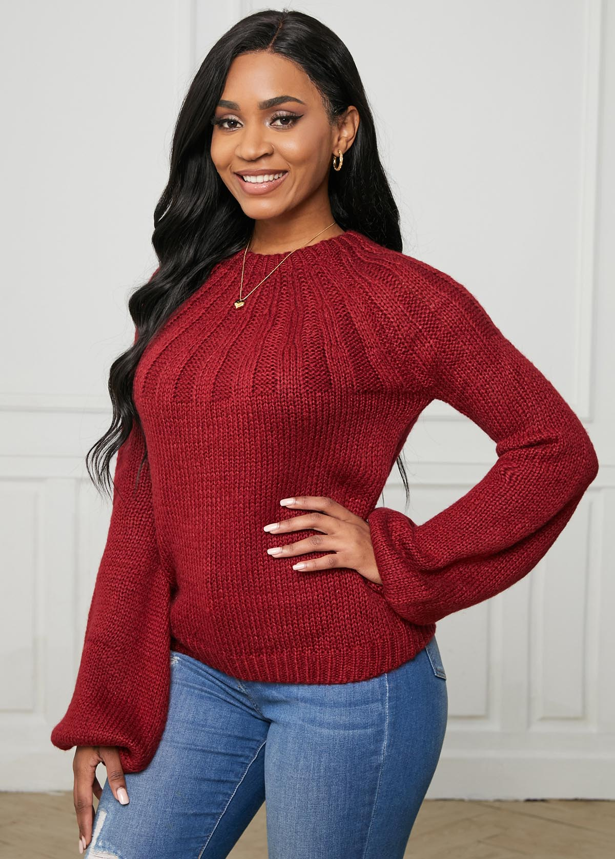 Wine Red Round Neck Long Sleeve Sweater