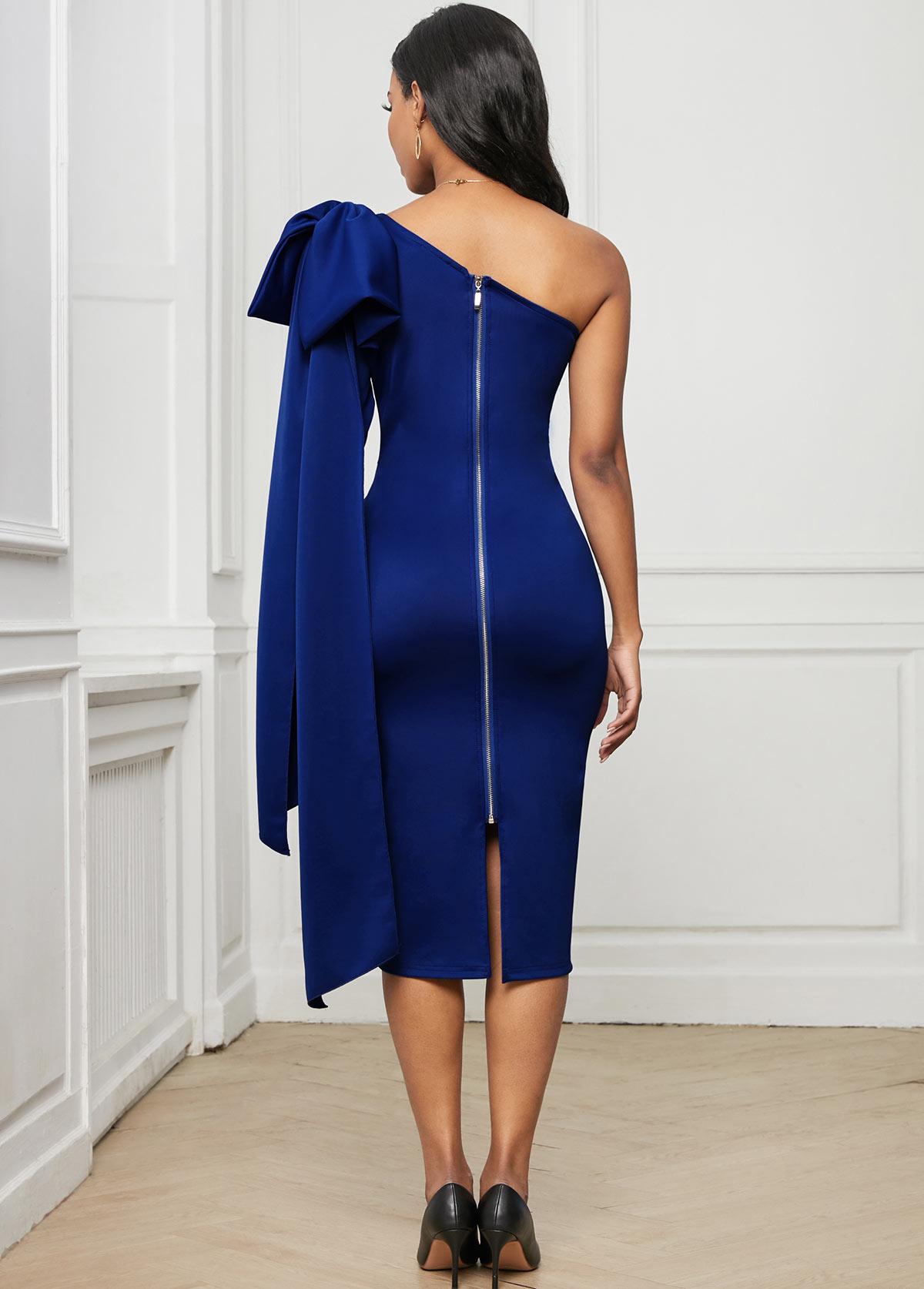 Bowknot One Shoulder Skew Neck Dress