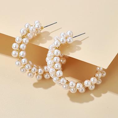 5cm Circular Pearl Design Earring Set