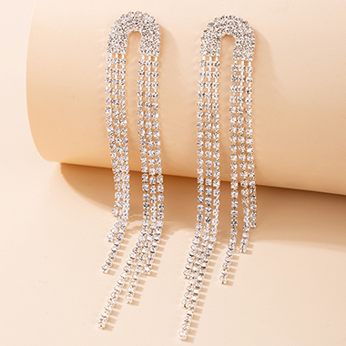 Silver Metal Rhinestone Detail Earring Set
