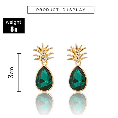 Metal Pineapple Design Green Earring Set