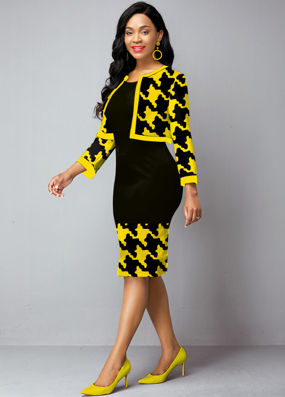Open Front Houndstooth Print Cardigan and Dress