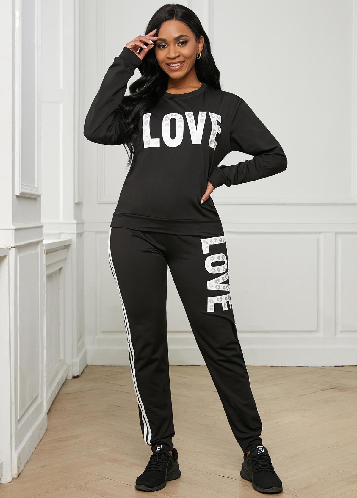 Long Sleeve Letter Print Round Neck Sweatsuit