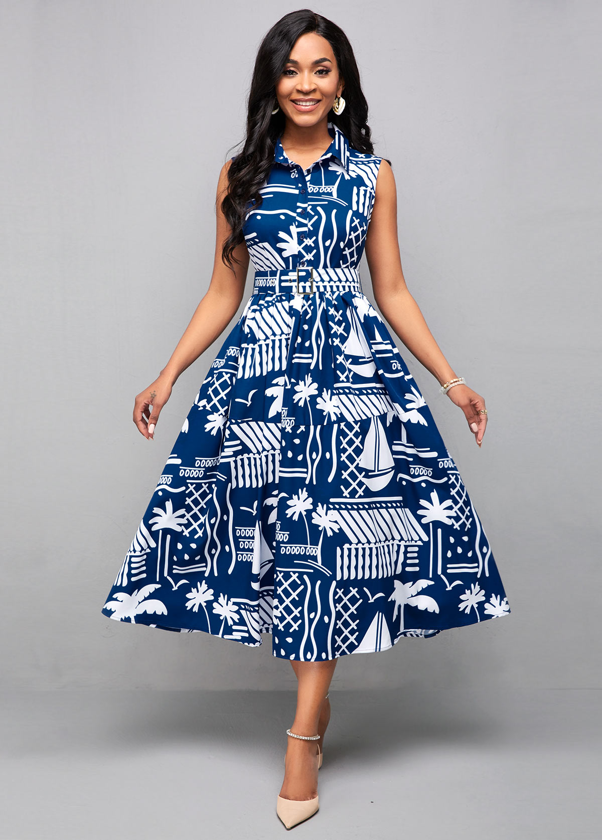 Button Detail Printed Sleeveless Belted Dress