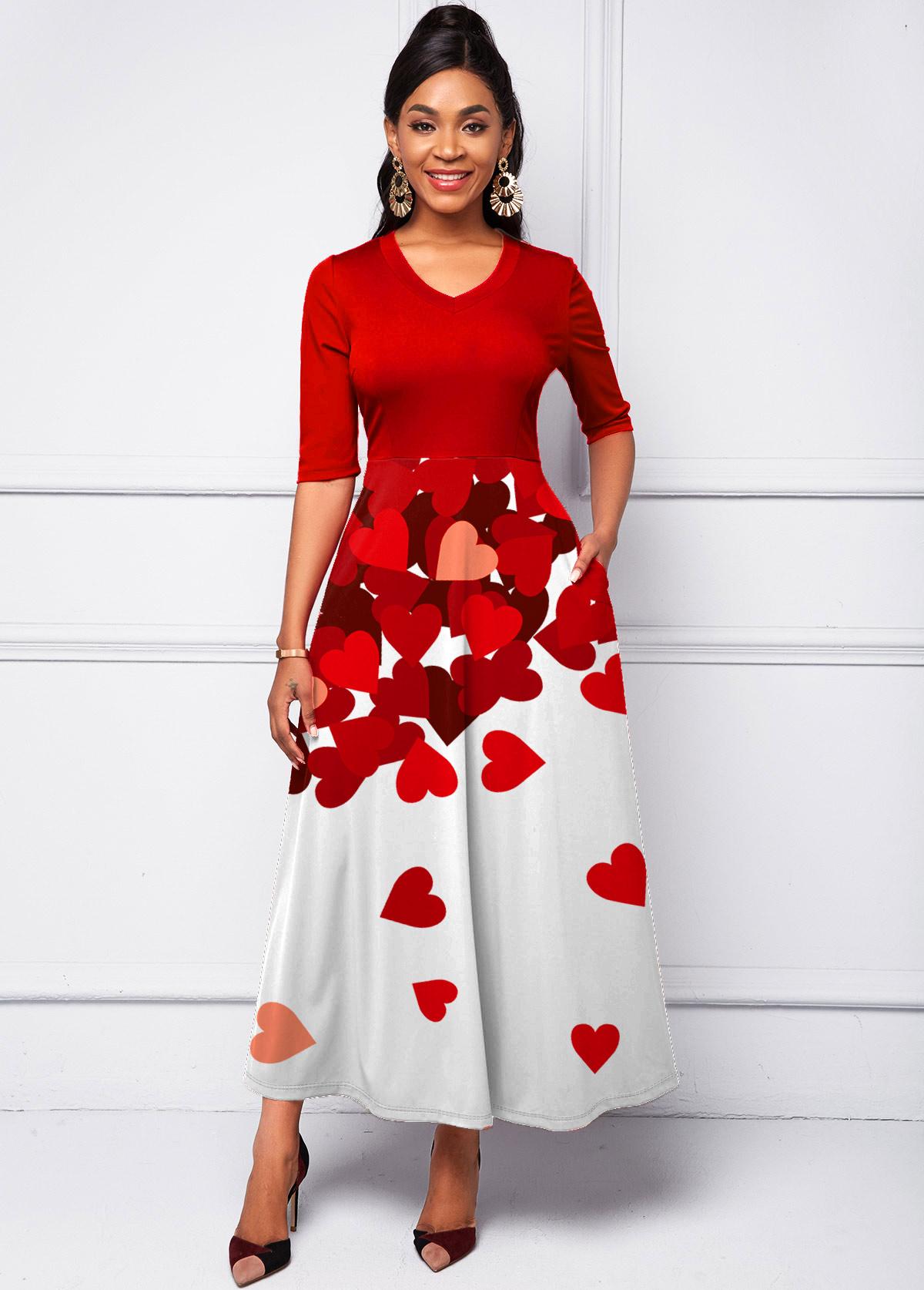 Heart Print Gradient Half Sleeve Dress