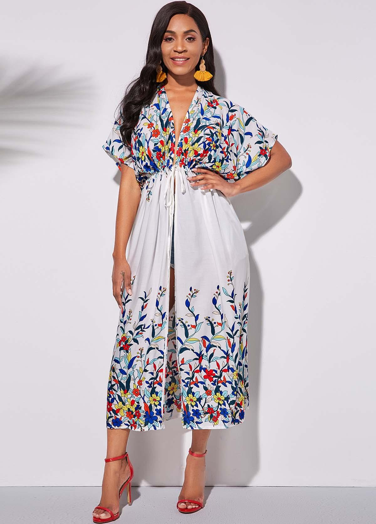 Half Sleeve Floral Print Tie Waist Cover Up