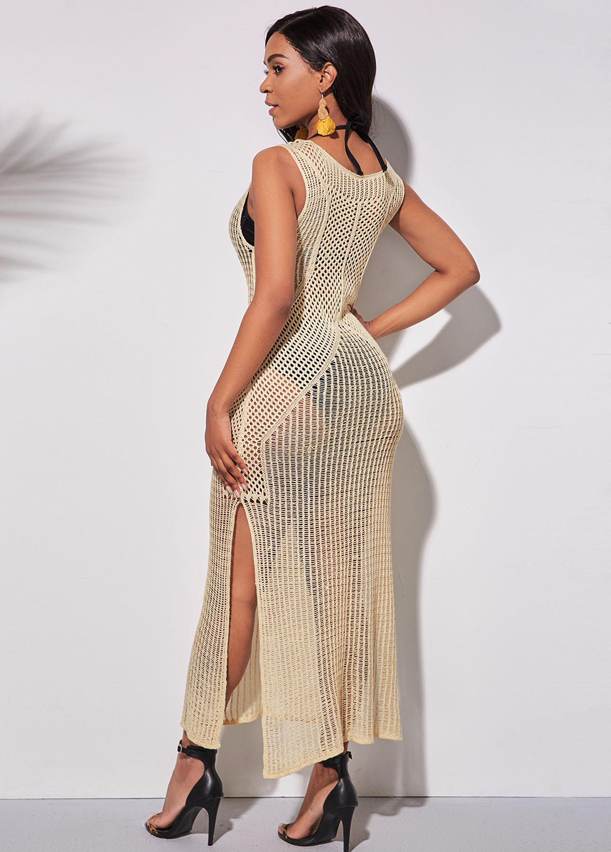 Light Khaki Pierced Side Slit Cover Up