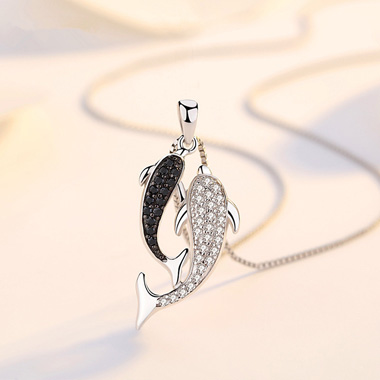 Double Dolphin Design Silver Zircon Necklace