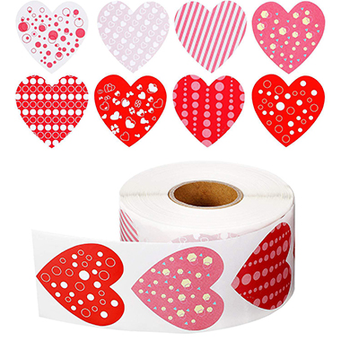 1.0 Inch Polka Dot Heart Shape Red Sticker