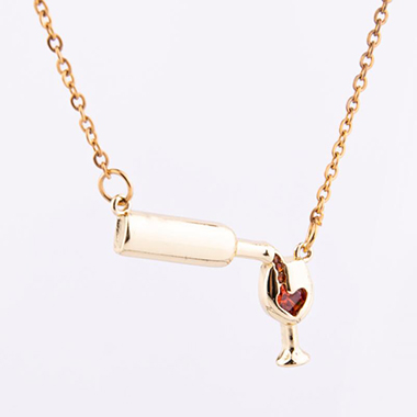Heart Wine Bottle and Cup Gold Metal Necklace