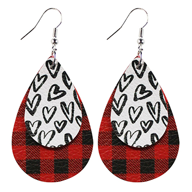 Layered Leopard and Plaid Faux Leather Earring Set
