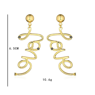 Letter Design Gold Metal Earring Set