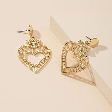1.2 X 2.0 Inch Gold Heart Metal Earring Set