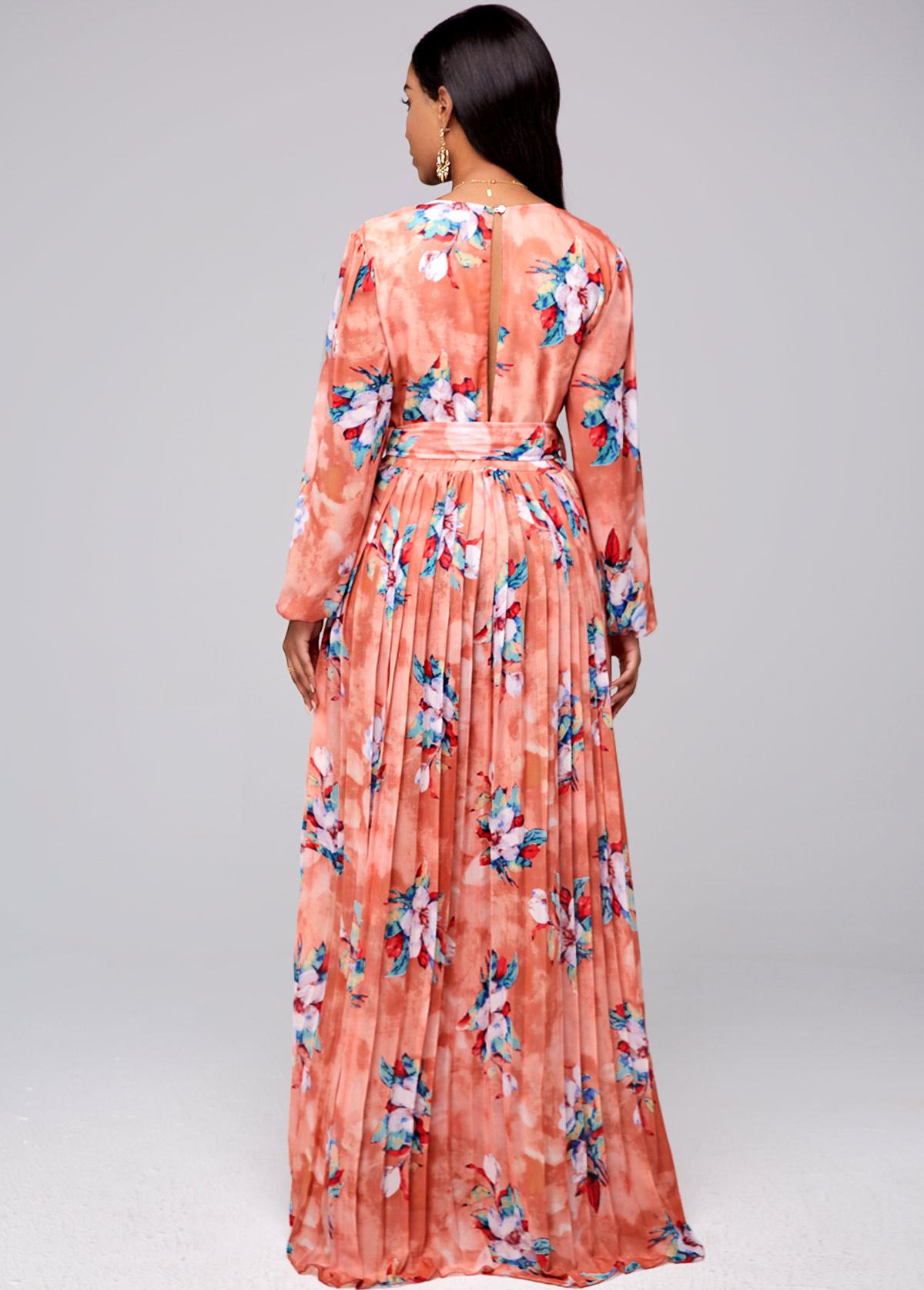Pleated Hem Buckle Belted Floral Print Dress
