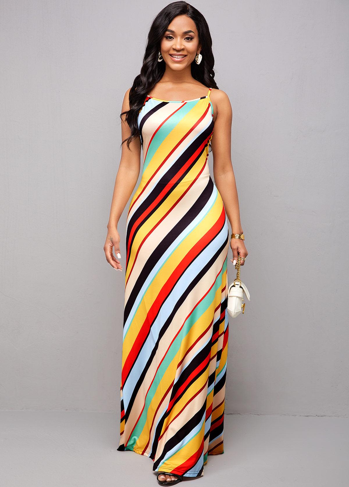 Rainbow Stripe Spaghetti Strap Maxi Dress